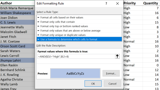 Apply Conditional Formatting to Multiple Cells with a Single Formula in Excel