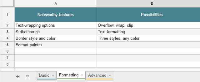 Add color the sheet name and strikethrough text format