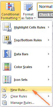 On the Home tab, click Conditional Formatting > New Rule…