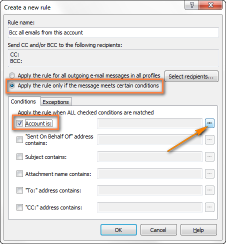 Creating a rule to send Bcc on all emails sent from a certain account