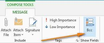 Display the Bcc field Outlook 2013 when using the inline response.