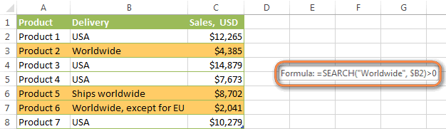 Excel formulas to conditionally format cells based on text values