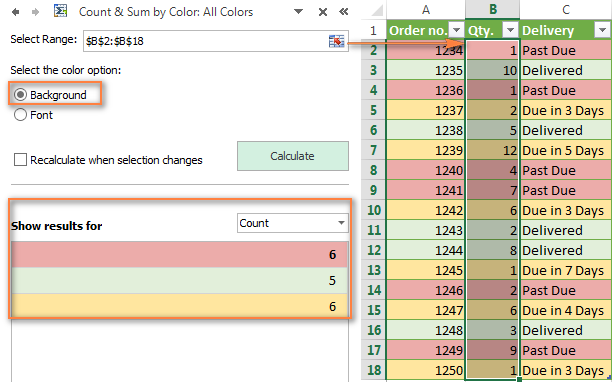 Count and sum cells by all colors in the selected range.