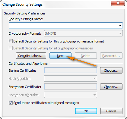Click New under Security Setting Preferences.