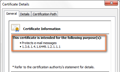 An example of the digital certificate purposed for email encryption and digital signing