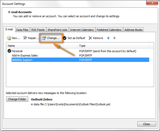Change the email account password in Outlook.