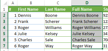 Combined names from 2 columns in to 1