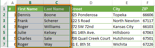 Select 2 columns in Excel that we want to merge
