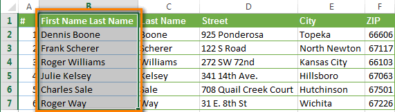 Paste merged data back to the Excel column