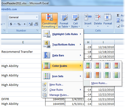 Format Excel Cells Based On Their Values Icon Sets Color