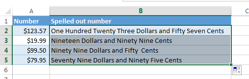 Spelled out numbers to dollars and cents