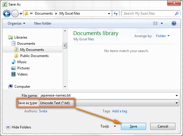 excel-save-unicode Tab Delimited Format Example on csv vs, file type,