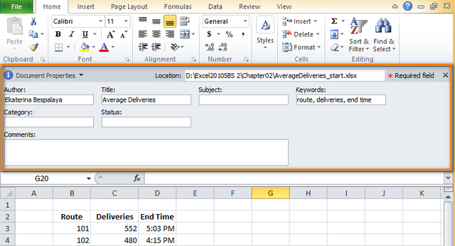 Add Values To Document Property Fields Excel