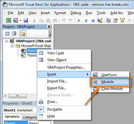 Click Insert > Module to add a new user-defined function to your worksheet.