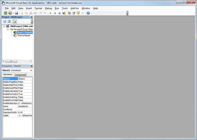Excel Visual Basic Editor window