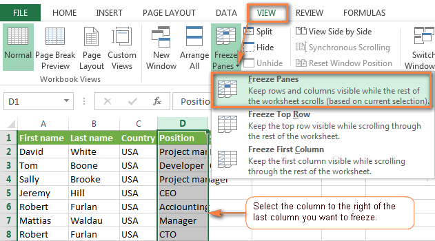 Excel Freeze Panes To Lock Rows And Columns