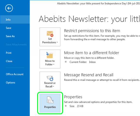 how to see email header in outlook 2010