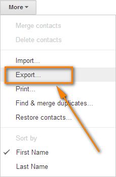 Click More > Export... to transfer the merged contacts back to Outlook.