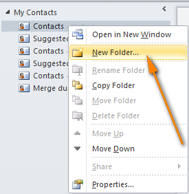Create a new Contacts folder.