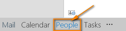 Click People at the bottom of the Navigation pane to open the contacts list.