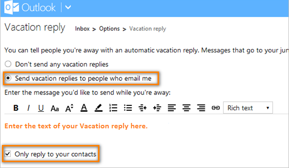 How to set up automated vacation replies for outlook com and hotmail