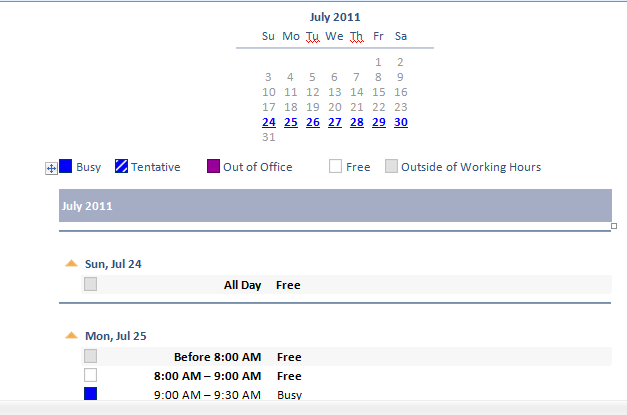 Outlook Calendar in the e-mail message