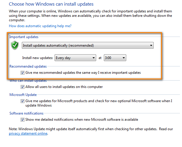 Turning on automatic Windows updates