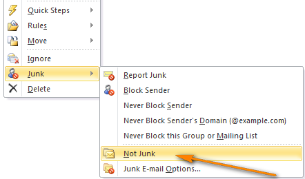 Right click a message and choose Not Junk from the context menu.