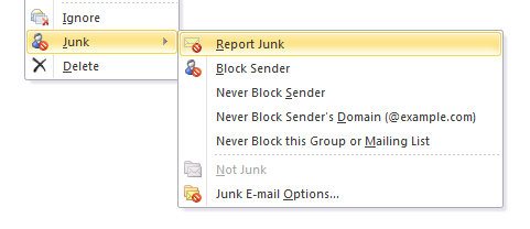 Right click an email and select Report Junk from the context menu.