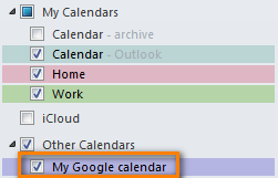 Google calendar has been imported to Outlook and you can see it under 'Other Calendars'.