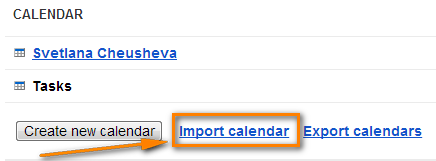 Click the Import Calendar link.