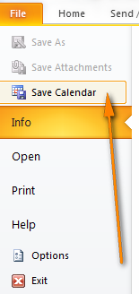 Switch to the File tab and click Save Calendar.