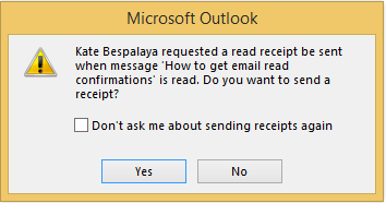 Double-click the email to display the request message