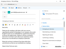 Template Phrases for Outlook online