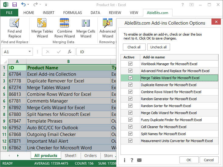 In the Collection you will have our 12 most popular add-ins for Excel ...