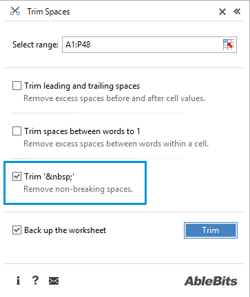 Use this option to nonbreaking spaces