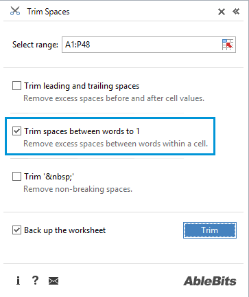Remove extra spaces in Excel - Cell Cleaner help