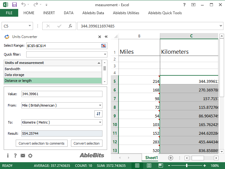 how to add measurements in excel 2013