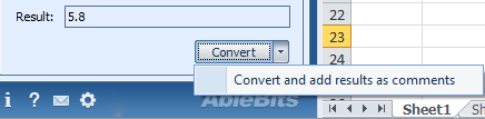 The Convert and add results as comments option