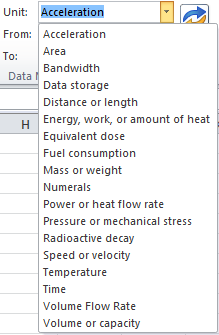 Choose the measurement unit from this list