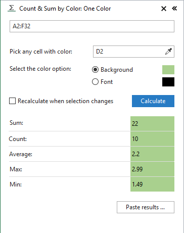 Press the Calculate button to see the results on the One Color pane