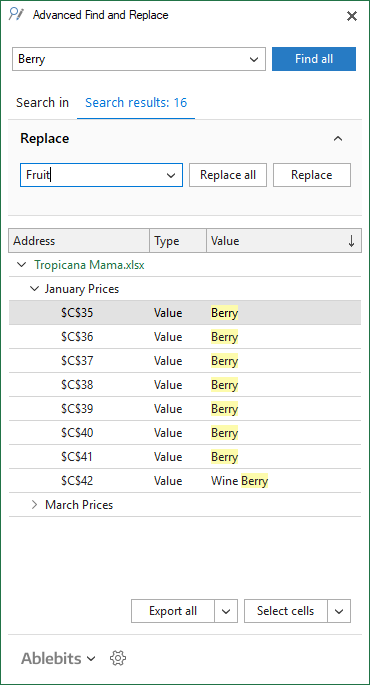 Found Values - Find & Replace for Excel