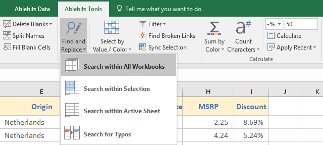 Pre-select the range for the search in the toolbar