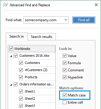 Select Match case for case-sensitive search