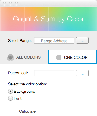 Click on the One Color tab