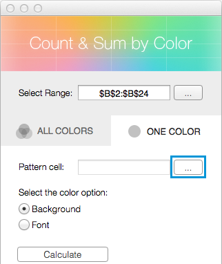 Click on the Select range icon next to the Pattern cell field