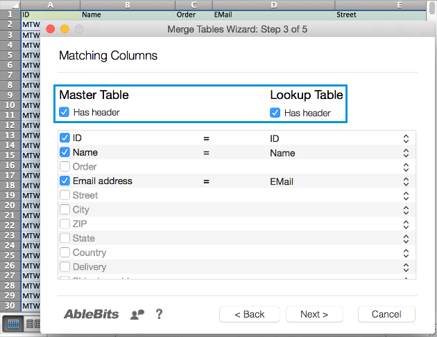 Select or deselect the Master Table has header and Lookup Table has header checkboxes