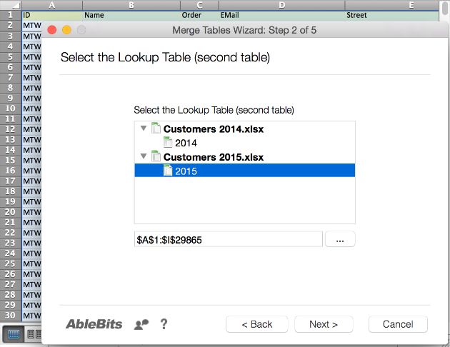 Select the Lookup Table