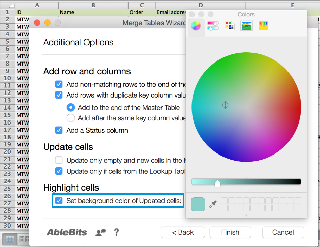Select the Set background color of updated cells checkbox