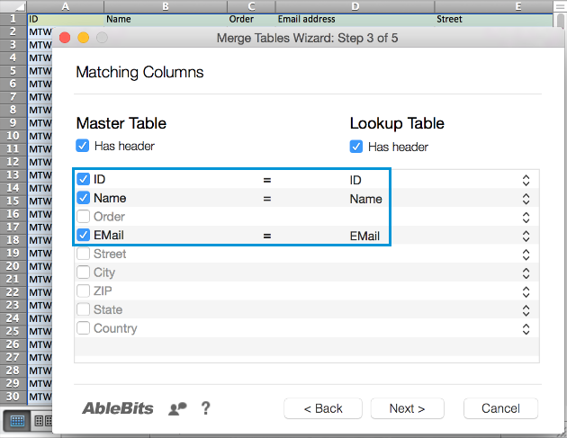 Tick the checkboxes next to the correct Master Table columns